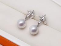 Elegant 8mm Waterdrop White Freshwater Pearl Earring for Women