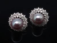 Huge 13-13.5mm Purple Freshwater Cultured Pearl Stud Earrings 925S