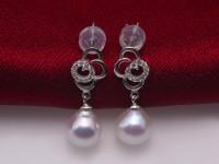 Elegant 7.5-8mm White Waterdrop Freshwater Cultured Pearl Earrings in 925 Sterling Silver