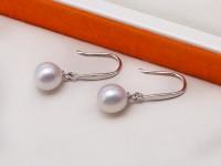 Elegant 8mm White Freshwater Cultured Pearl Earrings in 925 Sterling Silver Hook