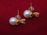 Exquisite 8mm Near Round White Freshwater Pearl Stud Earrings