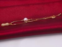 Fashion Women Silver Chain Bracelet dotted White Pearl