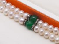 Elegant Double Strand Pearl Bracelet 6.5-7mm