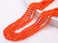 Long 5.5-6mm Multi-strands Round Coral Necklace