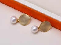 Lustrous 7-7.5mm White Near Round Pearl Earrings in Sterling Silver