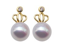 Boutique Crown White Flat Round Freshwater Pearl Stud Earrings for Women