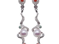 Graceful 7-7.5mm 925 Sterling Silver Drop Earrings Freshwater Pearl Earrings