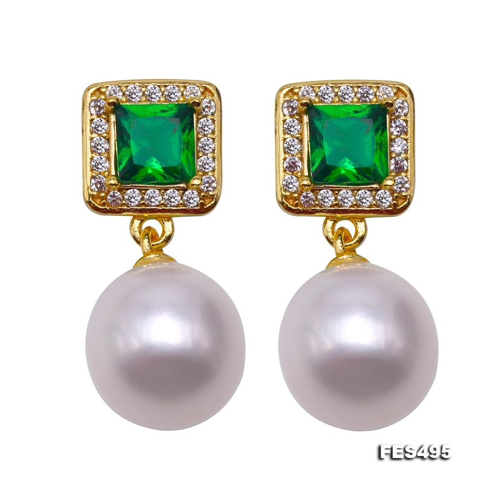 High Luster ! Women Sterling Silver Dangle Earrings 9mm White Pearls Earrings