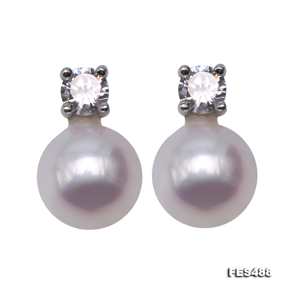 Classical 7.5mm White Freshwater Pearl Earrings in Silver