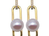 Creative 7-7.5mm Near Round White Freshwater Cultured Pearl Dangle Earrings