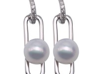 7-7.5mm Near Round White Freshwater Cultured Pearl Dangle Earrings