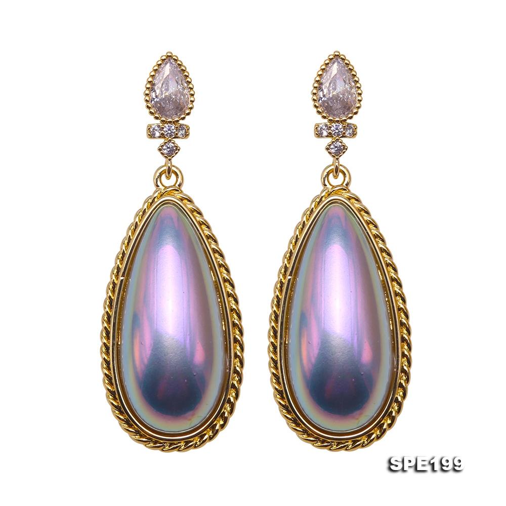 Charming 10×22mm Colorful Drip-Shape Seashell Pearl Earring