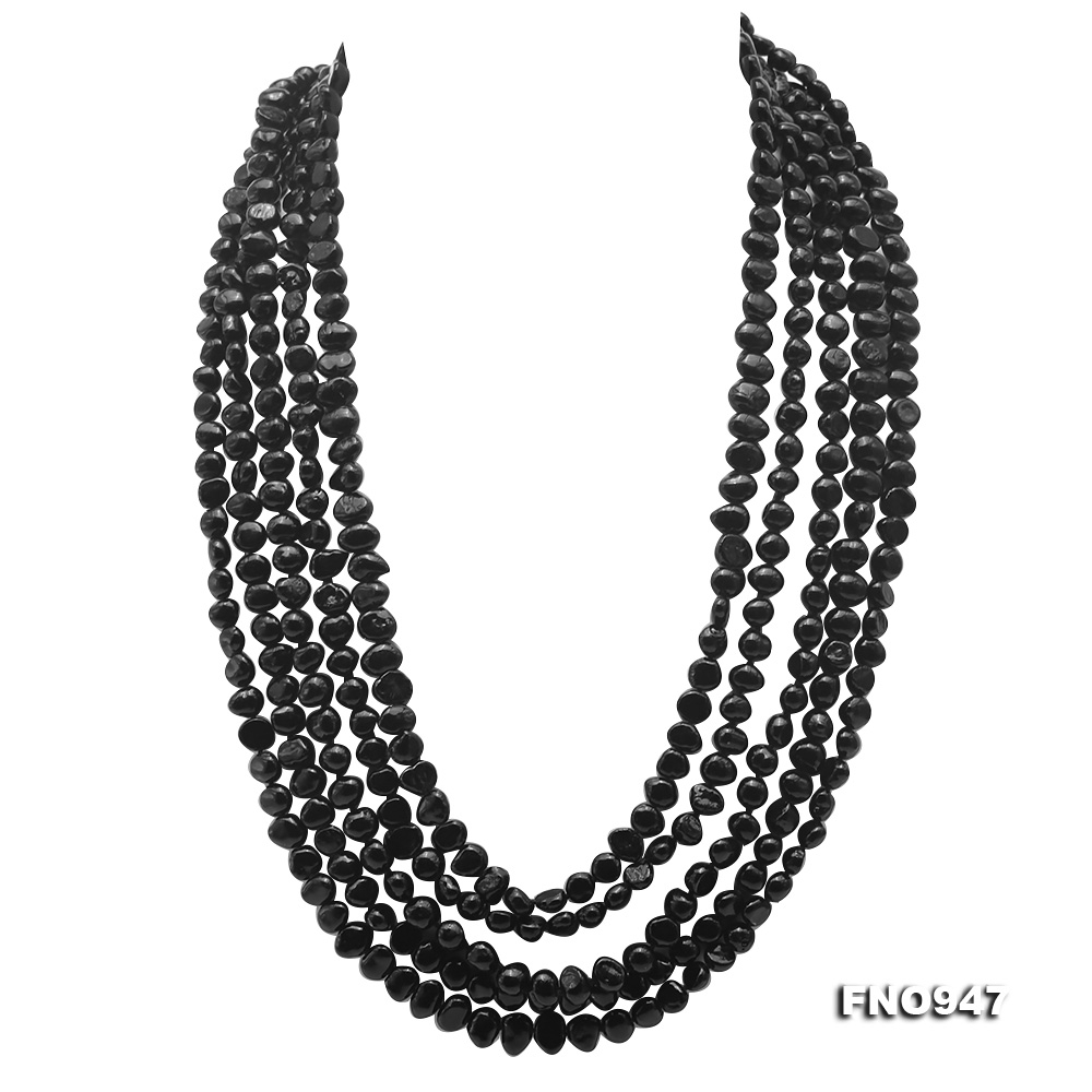 Classical 6.5-7.5mm Black Baroque Pearl Long Necklace