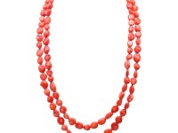New 9-10mm Long Irregular Orange Coral Necklace