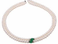 Elegant Double Strands Pearl Necklace dotted Aventurine Jade