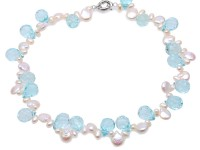 natural white coin freshwater pearl and blue teardrop crystal necklace