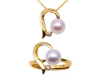 Cute 7.5mm Near Round White Freshwater Pearl and Rings for Wedding