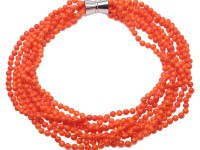 Beautiful Multi-Strand 6mm Orange Coral Necklace