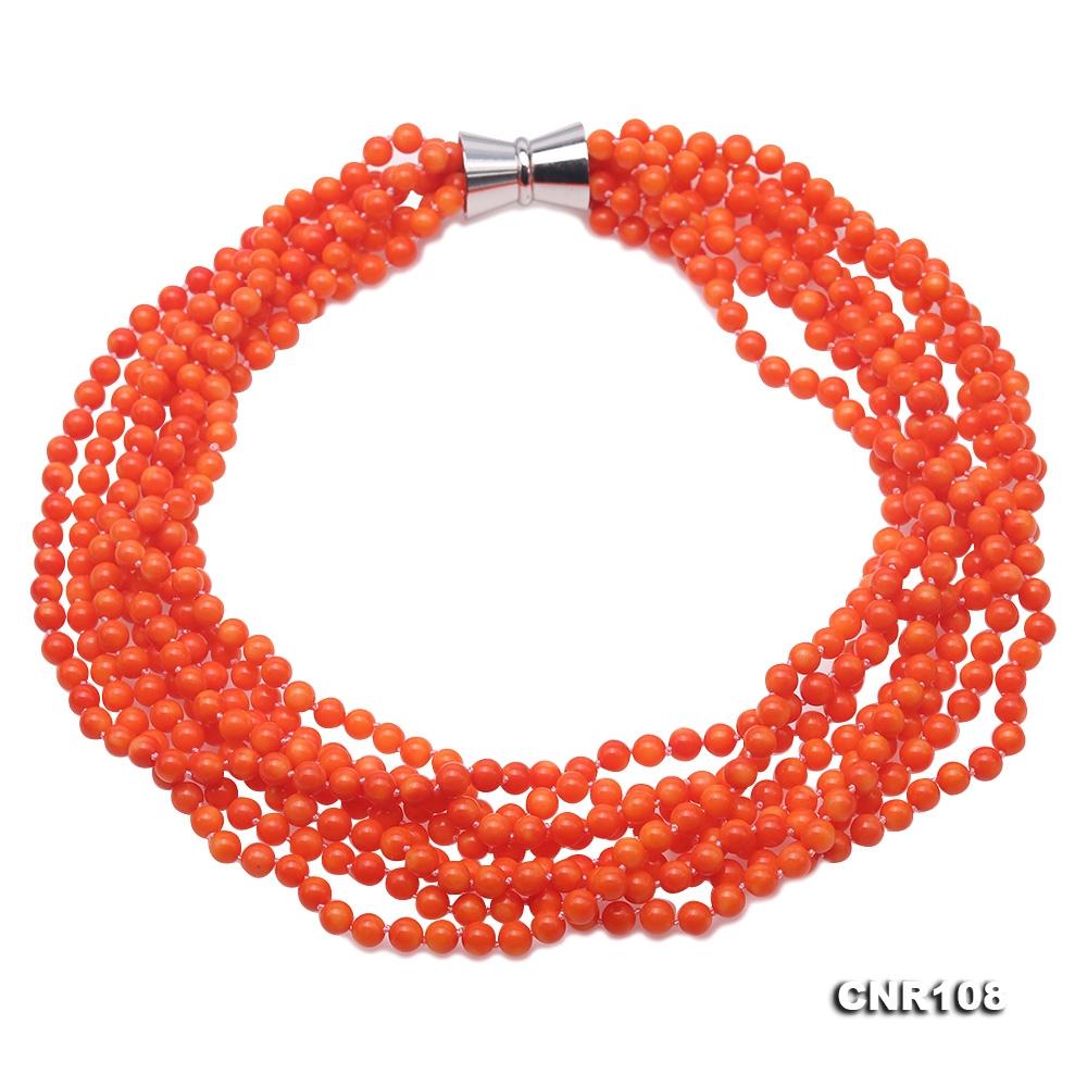 Beautiful Multi-Strand 6mm Orange Coral Necklace