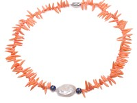 Special 3×12-2.5×18mm Orange Coral Sticks Necklace