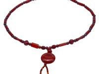 Fashion 8mm Round Women Red Agate Pendant Necklace