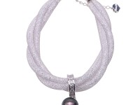 12mm Fashion Women Crystal Chain Black Tahitian Pearl Bracelet 8″