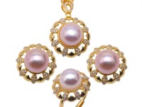 Gorgeous 9-9.5mm White Freshwater Cultured Pearl Pendant Earrings Ring Set