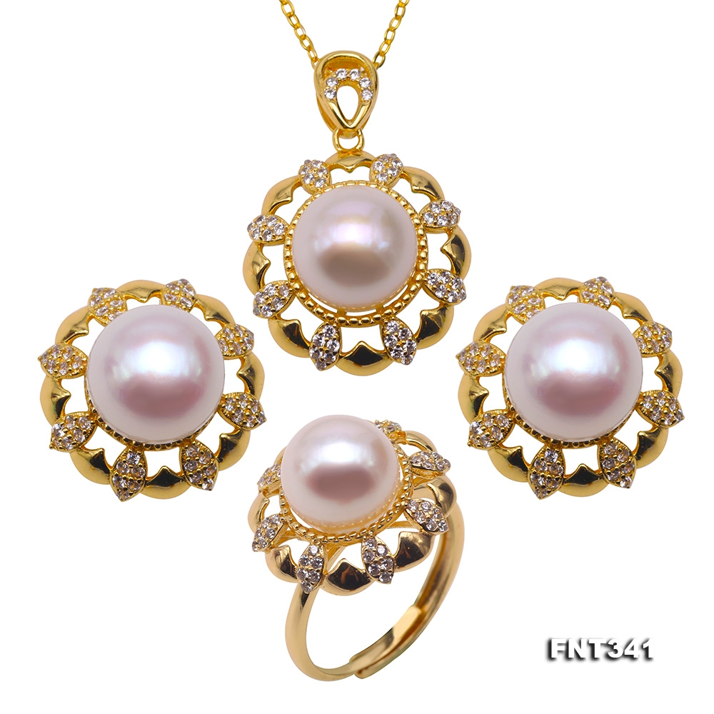 Exquisite 10-10.5mm White Pearl Pendant Earrings and Rings for Women